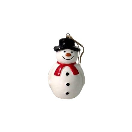 A traditional looking snowman hanging decoration, a charming little accessory to add to any themed home at Christmas