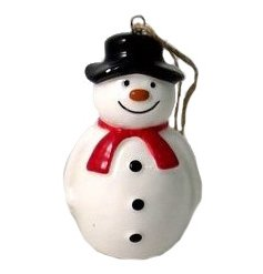 A cute little hanging ceramic snowman complete with a traditional hat and scarf decal