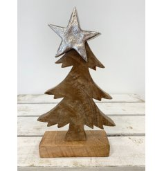 A rustic style wooden tree ornament with a metal star topper. A chic decorative accessory for the home.