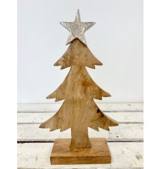 A charming rustic wooden tree ornament with base. Complete with a silver star topper