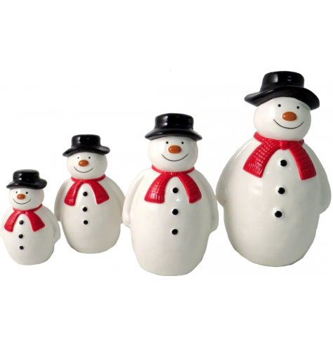 An adorable standing snowman figure with a smiling face, top hat and red winter scarf.