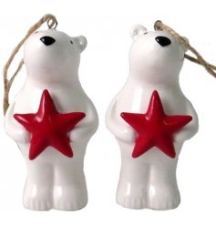 A festive little hanging ceramic polar complete with a red star decal