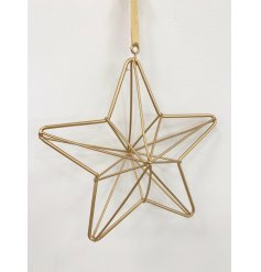 A chic and contemporary 3D gold star decoration with matching ribbon to hang.