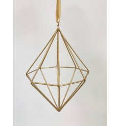 A contemporary diamond shaped decoration with gold organza hanger.