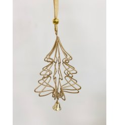 A chic and modern gold geometric tree decoration with bell and gold organza ribbon to hang.