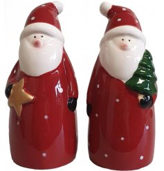 A fun and festive themed assortment of standing Santa figures complete with star and tree decals