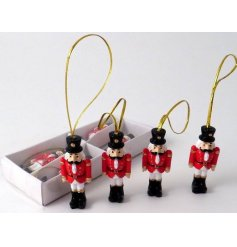 Bring a Traditional Touch to any tree display at Christmas with this festive set of hanging soldier decorations