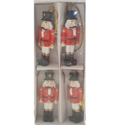 A set of 4 hanging soldier decorations, complete with a traditional decal