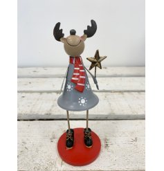 A cute and quirky standing reindeer ornament in grey. Complete with a rustic gold star wand and winter clothes.