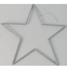this silver glitter hanging star will be sure to bring a sparkle to any space its placed in