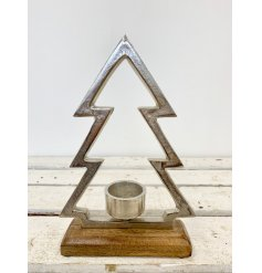A silver tree t-light holder with a rustic finish. Set upon a chunky wooden base making a chic interior accessory.