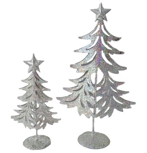 A magical 3-dimensional Christmas tree decoration with a star topper. Complete with a sparkling silver glitter finish.