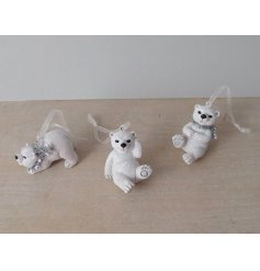 An adorable assortment of hanging resin polar bear decorations, suitable for any Winter Wonderland inspired displays