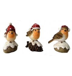 A festive assortment of resin Winter Robins, perfectly topped with sprinkles of glitter and hats!
