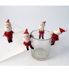 A mix of mini little resin Santa figures, with latched hands for fun hanging displays