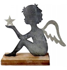 Add an Angelic feature to any home space with this overly distressed metal cherub decoration