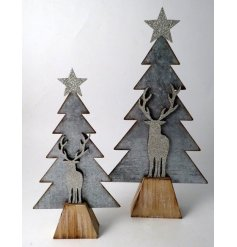 A beautifully rustic metal tree and stag cut decal on top a natural wooden block base