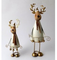 this free standing metal reindeer figure will be sure to bring a charming sense to any space its placed in