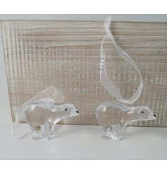A delightful little hanging acrylic polar bear decoration