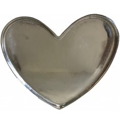 An extra large metal heart tray set with distressed ridges and decals