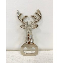 A chic stag design bottle opener in silver. A unique gift item and homeware accessory.