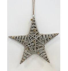 A gorgeous wicker star with a shimmering finish and miniature gold glitter baubles.