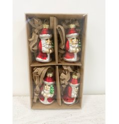 A set of 4 vintage style glass Santa baubles in a brown kraft box. A traditional ornament for the home this season.