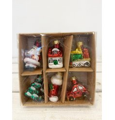 A set of 6 vintage style glass decorations featuring traditional designs. A much loved box of glass ornaments.