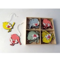 Add a splash of colour to any home interior during Easter with this sweet assorted set of hanging wooden bird decoration