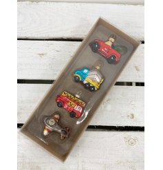 A set of 4 colourful vintage inspired glass vehicle baubles including plane, fire engine and truck designs.