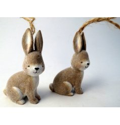A sweet little hanging woodland bunny decoration, set with a fuzzy coating