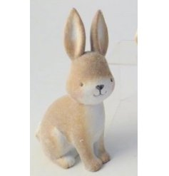 An adorable little sitting Rabbit decoration, coated with a soft fuzzy finish