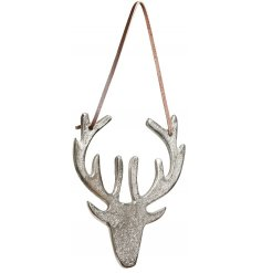 A rustic hanging metal stag with leather strap to display in your home.