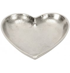 Bring a sweet heart feature to your home interior with this simple yet chic buffed silver metal heart plate