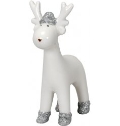 A festive themed ceramic reindeer with added silver glitter accents