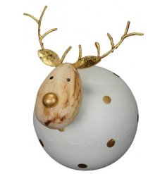 A charming round reindeer decoration with gold polka dots and antlers. A loveable and sweet ornament to fall in love wit
