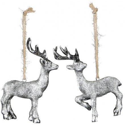 Assorted Hanging Silver Reindeer