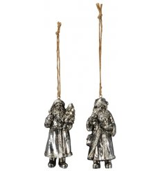 An assortment of posed hanging Santa figures set with a tarnished silver decal