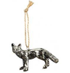 An ornamental hanging resin fox decorated in a tarnished silver decal