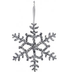 A decorative hanging snowflake with a silvered tone and added ridged decal
