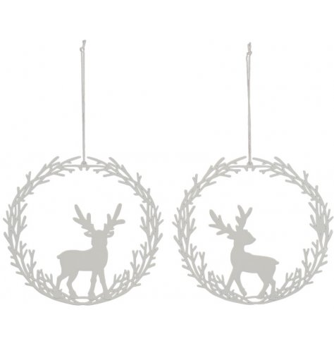 Chic silhouette wreath baubles with posed stags inside.