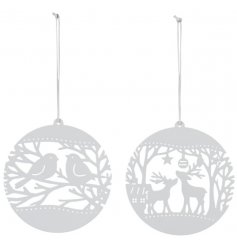 A mix of hanging metal decorations set in a white tone.