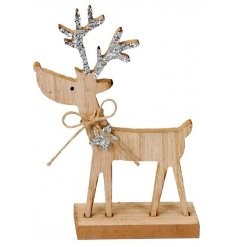 A sweet little wooden reindeer ornament decorated with added silver sparkly antlers,
