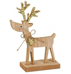 A sweet little wooden reindeer ornament decorated with added gold sparkly antlers,