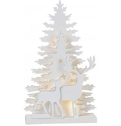 Bring a festive themed touch to your interior at Christmas with this beautiful white wooden display
