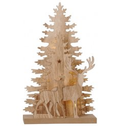 Bring a festive themed touch to your interior at Christmas with this beautiful natural wooden display