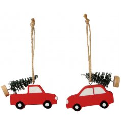 A mix of  hanging wooden car decorations set in festive red tones and complete with traditional green trees on top