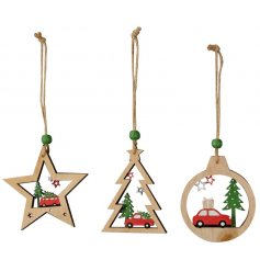 A fun and festive assortment of hanging wooden decorations, each set with its shape and christmas scene centre