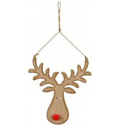 A cute and festive themed natural wooden reindeer decoration perfectly decorated with a red pompom nose