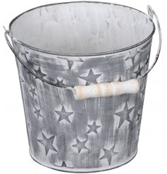 A small metal bucket featuring natural wooden handles and an embossed star decal